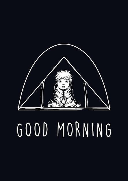 Guten morgen illustration Premium Vektoren