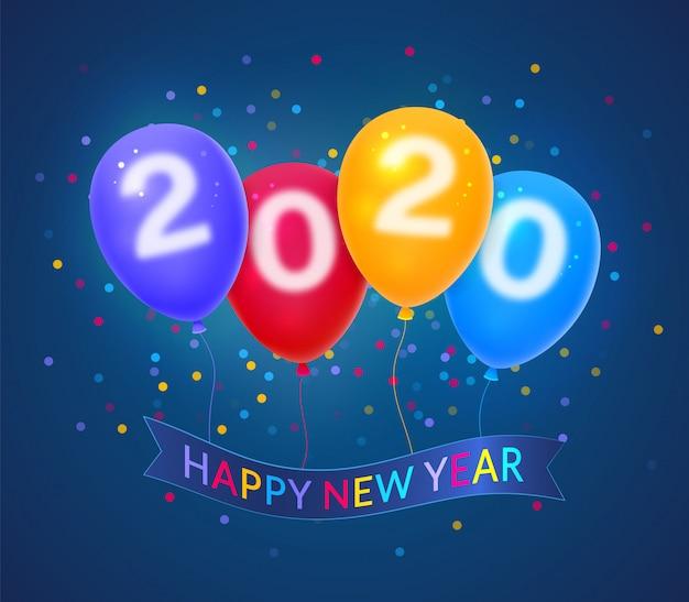 Guten rutsch ins neue jahr 2020 auf buntem ballonhintergrund Premium Vektoren