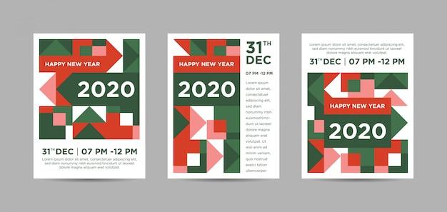 Guten rutsch ins neue jahr 2020 buntes abstraktes triptychon-plakat Premium Vektoren