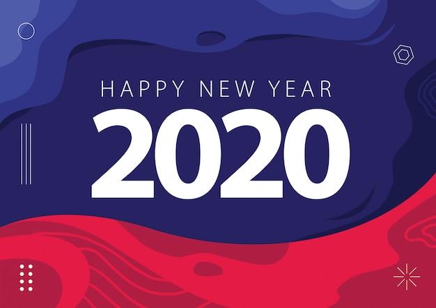 Guten rutsch ins neue jahr 2020 karten-hintergrund-zusammenfassungs-purpurrotes magentarotes rosa Premium Vektoren