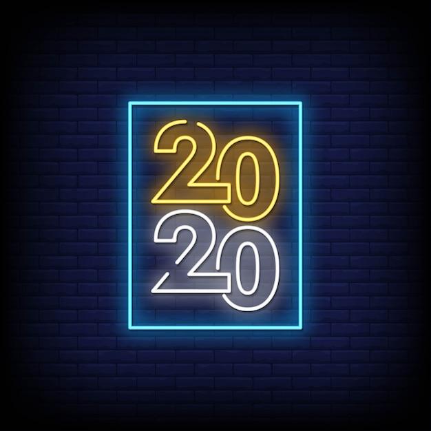 Guten rutsch ins neue jahr 2020-leuchtreklame-art-text-vektor Premium Vektoren