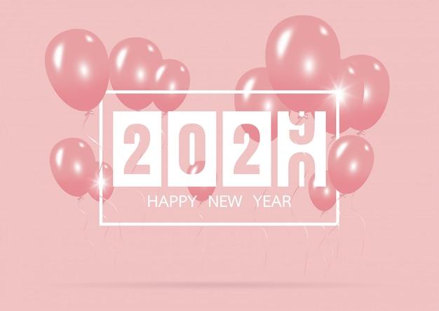 Guten rutsch ins neue jahr 2020 mit kreativem rosa ballonkonzept auf pastellrosa Premium Vektoren