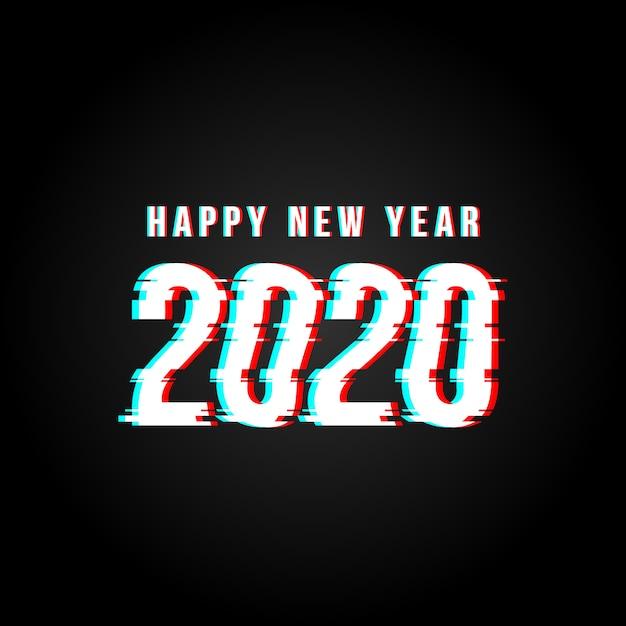 Guten rutsch ins neue jahr 2020 störschub zerhackte texthintergrund Premium Vektoren