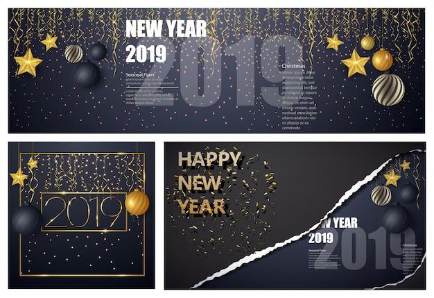 Guten rutsch ins neue jahr-designplan auf schwarzem hintergrund mit 2019. große satzgrußkarten-designschablone. Premium Vektoren