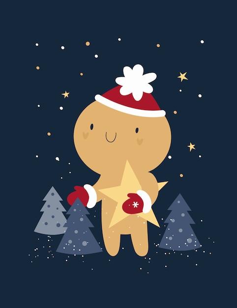 Guten rutsch ins neue jahr, weihnachtsfestliche feiertagskarte mit ingwerbrot-mannplätzchen Premium Vektoren