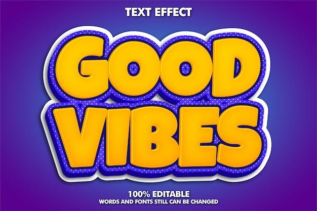 Guter vibes-aufkleber, moderner retro-texteffekt Kostenlosen Vektoren