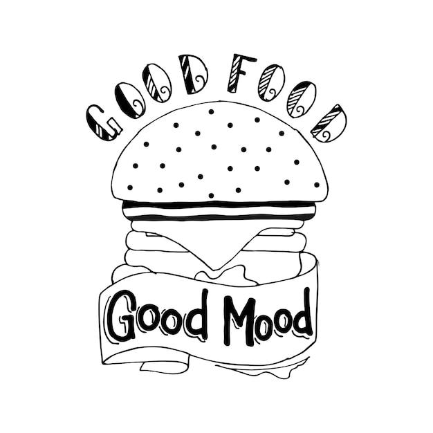 Gutes essen, gute stimmung Premium Vektoren