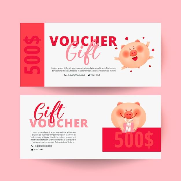 Gutscheinkarte mit schwein und geschenk Premium Vektoren