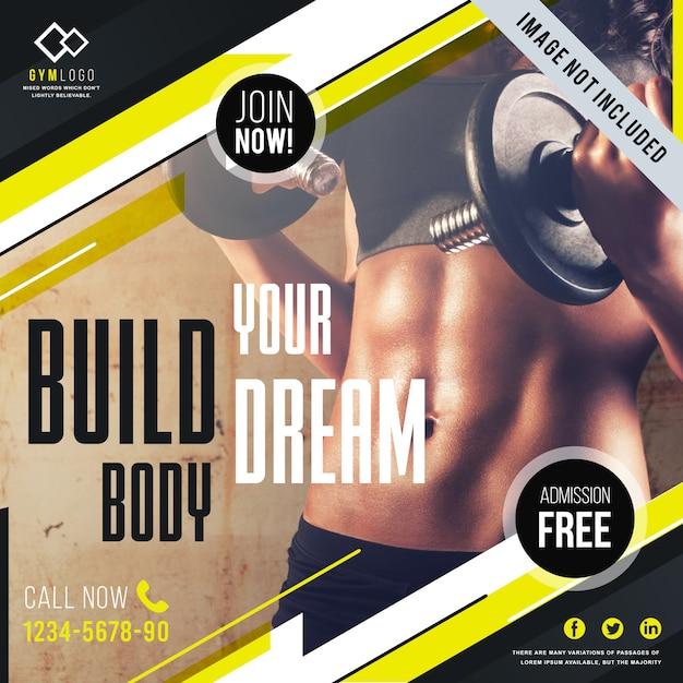Gym fitness banner vorlage Premium Vektoren