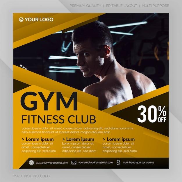 Gym fitness club quadratische banner vorlage oder instagram post werbung Premium Vektoren