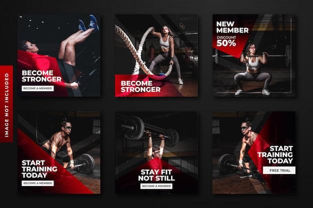Gym & fitness instagram post template sammlung. Premium Vektoren