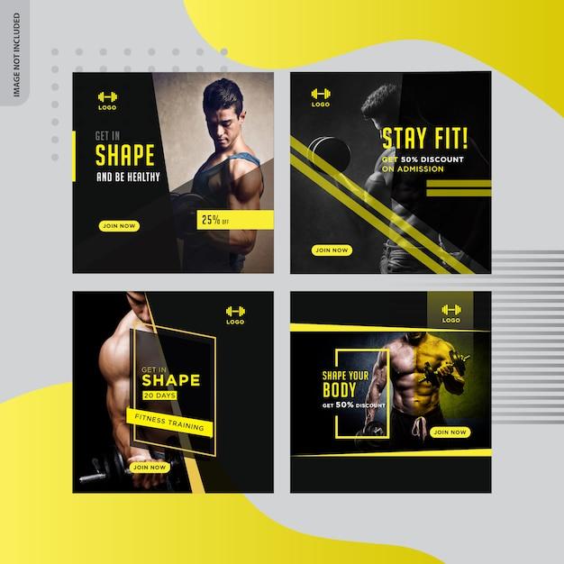 Gym-fitness-social-media-banner Premium Vektoren