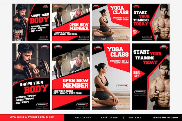 Gym fitness social media beitrag und geschichten vorlage Premium Vektoren