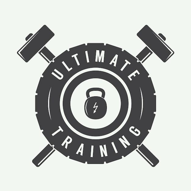 Gym logo label und / oder abzeichen vintage-stil Premium Vektoren