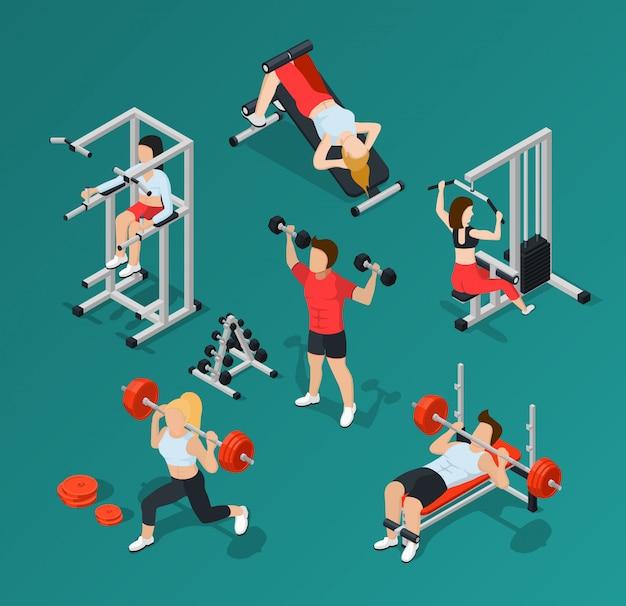 Gym menschen icon set Kostenlosen Vektoren
