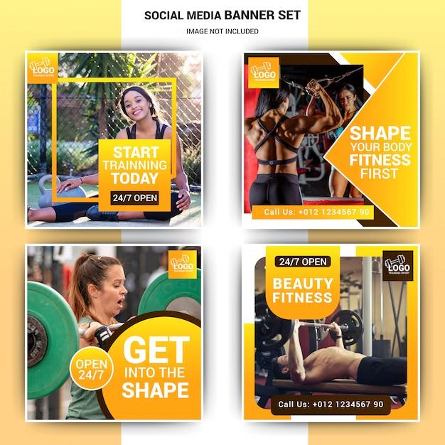 Gym social media post schablonendesign Premium Vektoren