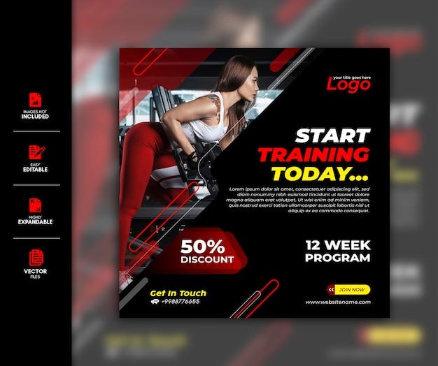 Gym social media post vorlage premium Premium Vektoren