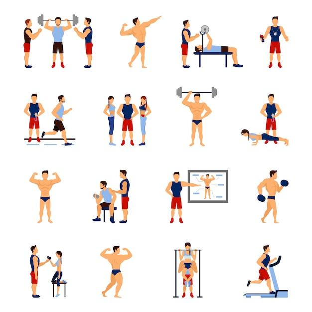 Gym trainer set Kostenlosen Vektoren