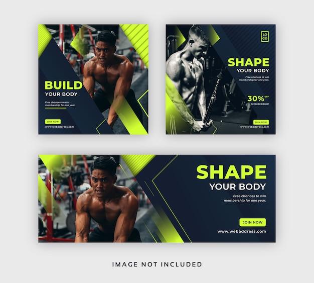 Gym und fitness social media post web banner & facebook cover vorlage Premium Vektoren