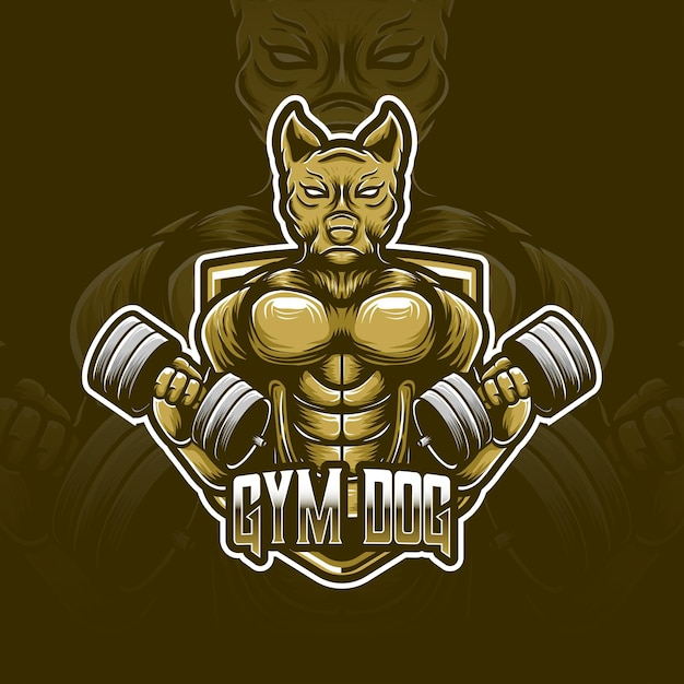Gymnastik hund esport logo charakter symbol Premium Vektoren