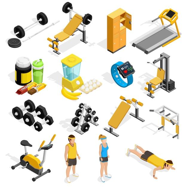 Gymnastik und fitness isometrische icons set Kostenlosen Vektoren