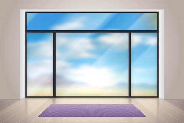 Gymnastikglas. realistischer raum mit großem glasfenster. leere turnhalle innenraum mit übung teppich und holzboden illustration Premium Vektoren