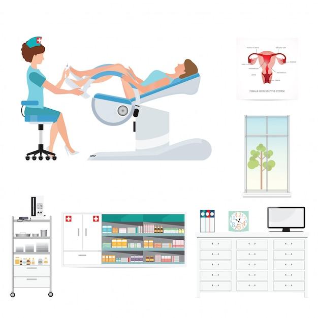 Gynäkologisches krankenzimmer Premium Vektoren