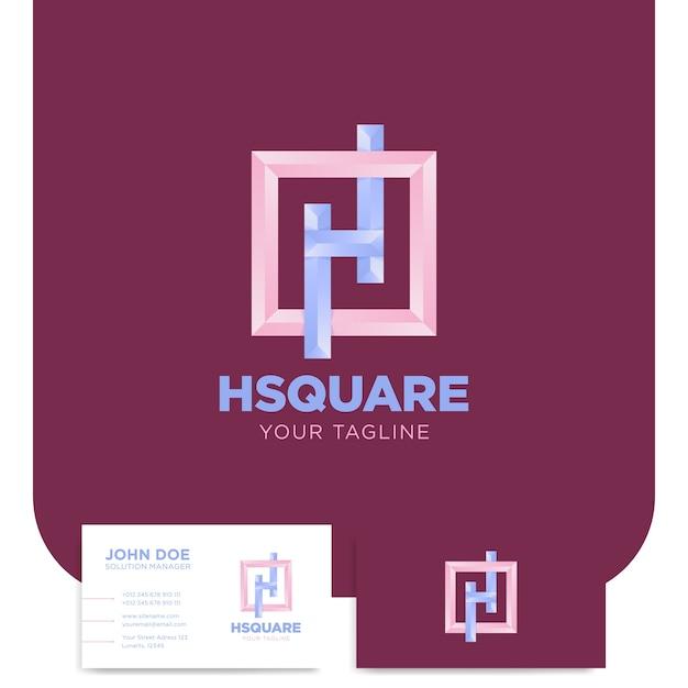 H Buchstabe Logo In Quadrat Oder Rahmenschablone Mit