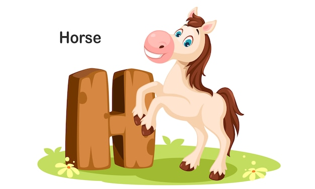 H für pferd Premium Vektoren