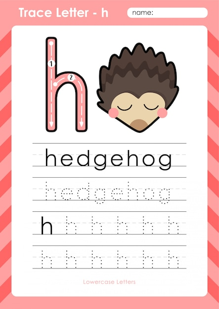 h igel alphabet az arbeitsblatt zum nachzeichnen von