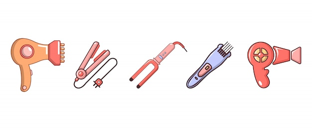 Haar-tools-icon-set. karikatursatz haarwerkzeug-vektorikonen eingestellt lokalisiert Premium Vektoren