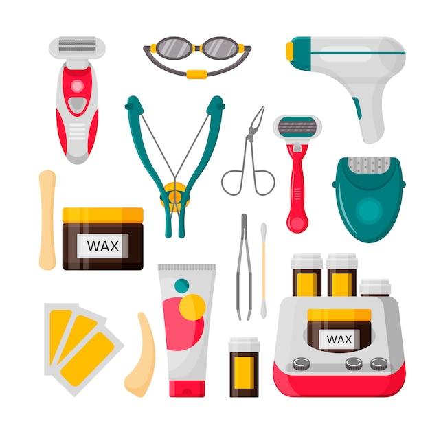 Haarentfernungs-icon-set. vektor-illustration von laser, epilierer, enthaarungscreme, wachsstreifen, flasche wachs, rasiermesser, augenbrauenpinzette, schere Premium Vektoren