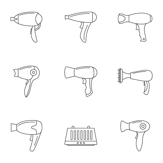 Haartrockner-icon-set Premium Vektoren