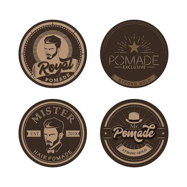 Haarwachs pomade vintage logo vektor-illustration Premium Vektoren