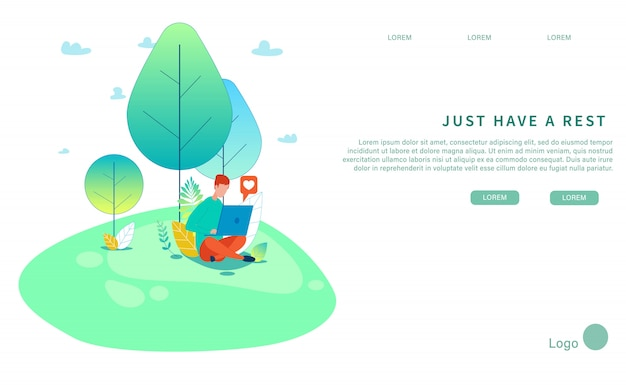Haben sie einfach rest-natürliche design-flache landing page Premium Vektoren
