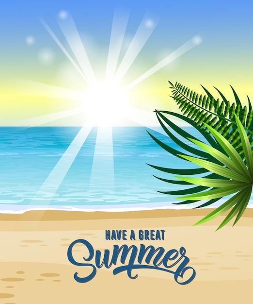 Haben sie großen sommergruß mit meer, tropischem strand, sonnenaufgang und palmblättern Kostenlosen Vektoren