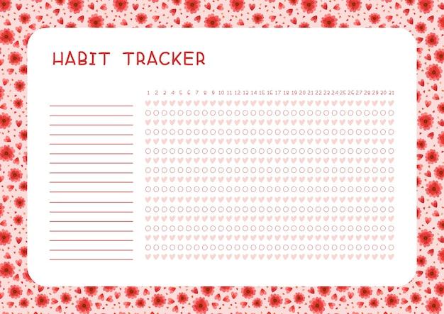 Habit tracker für monat. planerseite mit roten blumen und herzlayout. aufgaben leerer fahrplanentwurf Kostenlosen Vektoren