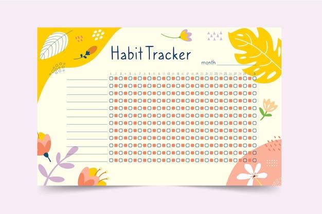 Habit tracker vorlage mit pflanzen Kostenlosen Vektoren