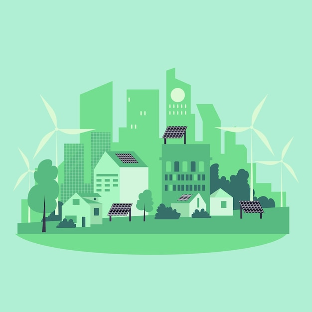 Habitat-tagesillustration mit grüner stadt Premium Vektoren