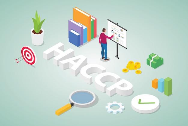 Haccp-gefahrenanalyse und geschäftskonzept für kritische kontrollpunkte für das risikomanagement Premium Vektoren