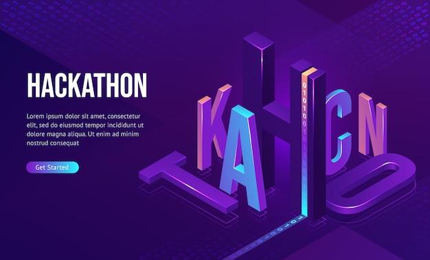 Hackathon isometrische landung, softwareentwicklung Kostenlosen Vektoren
