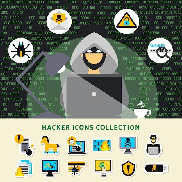 Hacker-aktivitäts-ikonen-sammlung Premium Vektoren