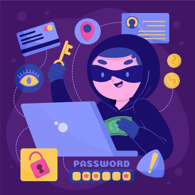 Hacker arbeiten mit falschen identitäten Kostenlosen Vektoren