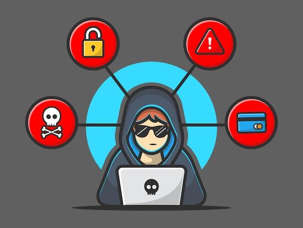 Hacker, der eine laptop-ikone betreibt. hacker und laptop. hacker-und technologie-ikone getrennt Premium Vektoren