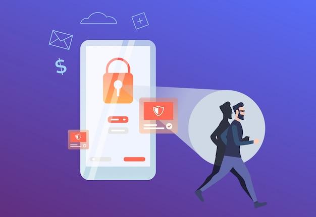 Hacker, der vom roten verschluss auf telefonschirm läuft Kostenlosen Vektoren