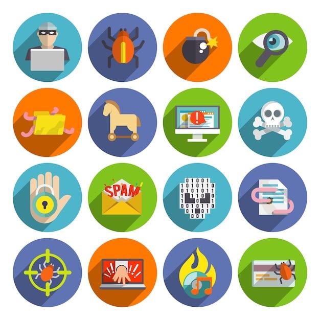 Hacker icons flach gesetzt Kostenlosen Vektoren