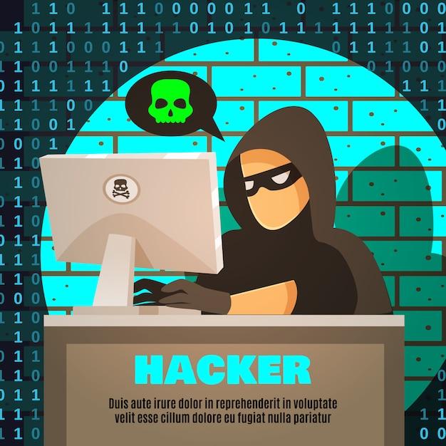 Hacker in der nähe von computer illustration Kostenlosen Vektoren