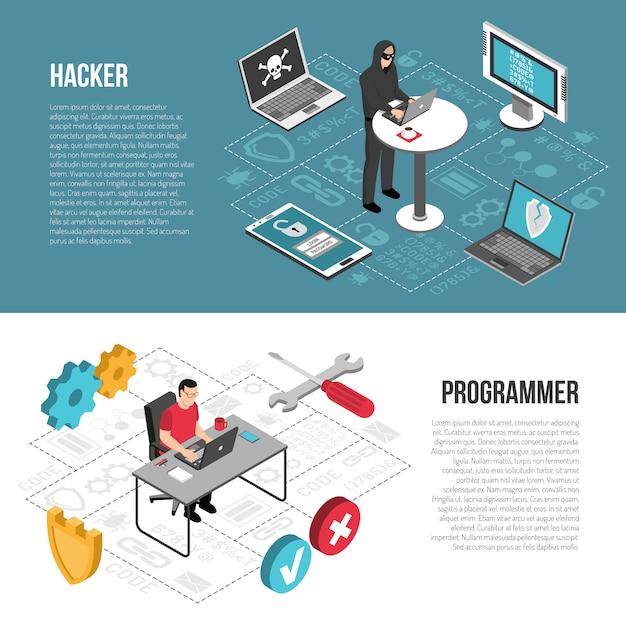 Hacker-programmierer-isometrische fahnen Kostenlosen Vektoren