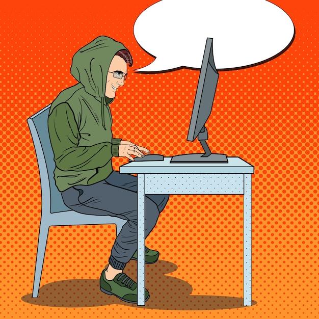 Hacker stehlen informationen auf dem computer Premium Vektoren