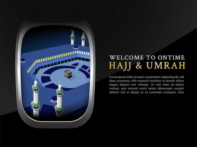 Hadsch- u. umrah-broschüre, plakat, fahnenschablonenansicht vom flugzeugfenster Premium Vektoren